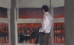 Night River Watch (study) by Kevin Day - Original Painting, Canvas on Board sized 16x10 inches. Available from Whitewall Galleries